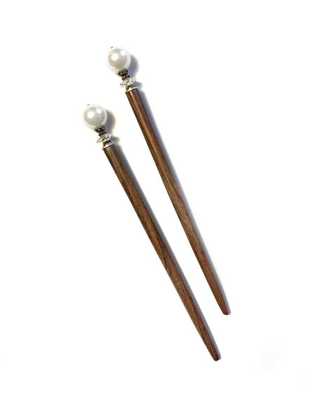 Hair Sticks with White Pearls