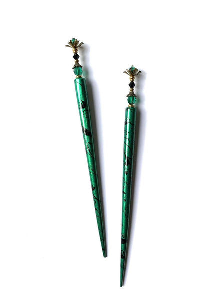 Extra Long Hair Sticks in Emerald Green