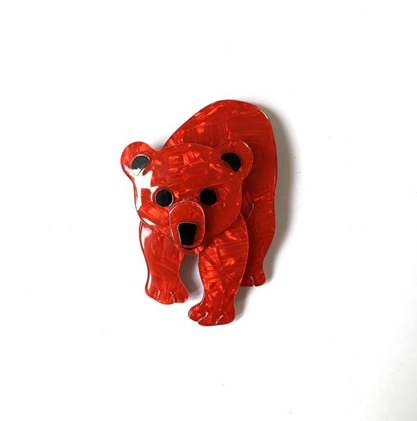 Lea Stein Red Bear Brooch