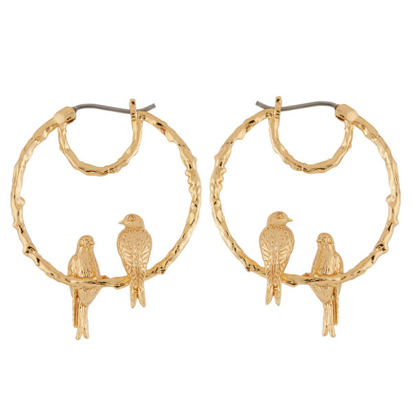Les Néréides Gold Love Swallow Bird Hoop Earrings