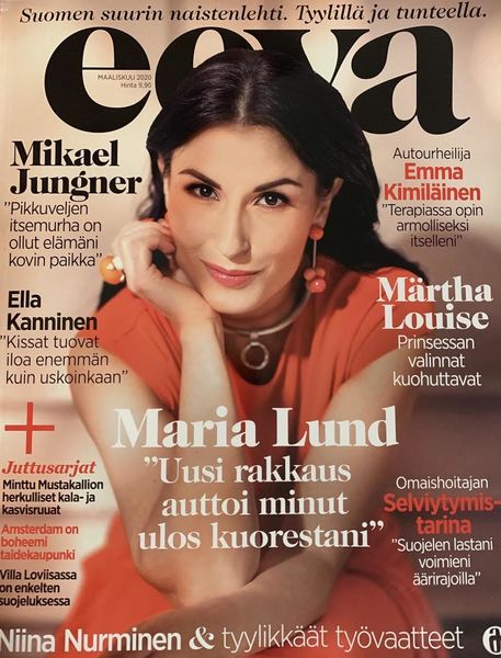 Singer Maria Lund and Mustahöyhenen's Jewellery on the Cover of Eeva magazine 2020