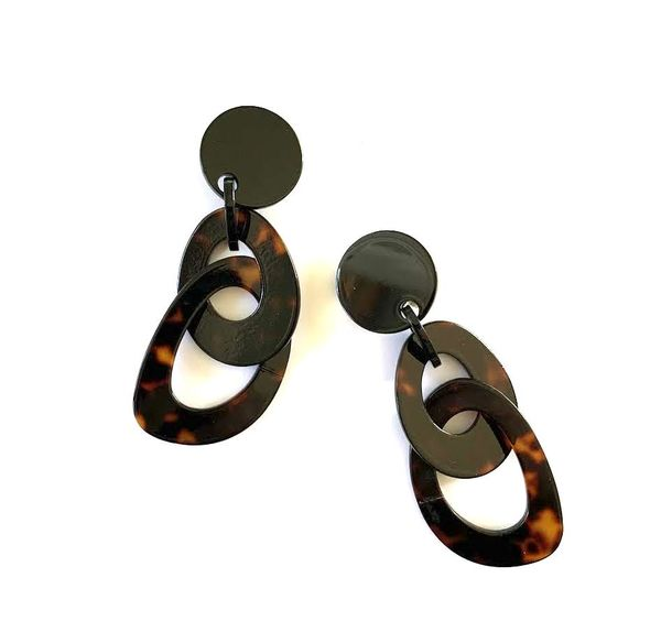Marion Godart Faux Tortoise Shell  Double Hoop Earrings