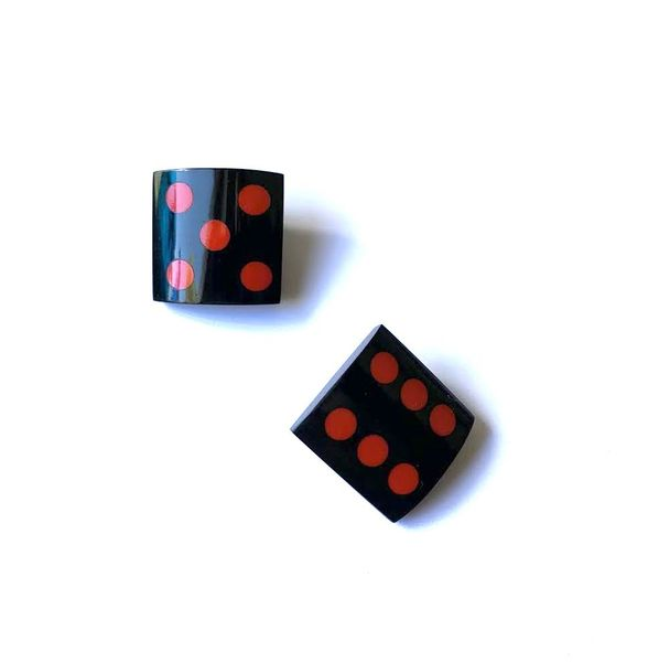 Marion Godart Black & Red Dice Earrings