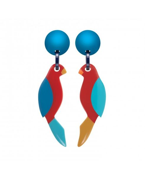 Marion Godart Blue Parrot Earrings