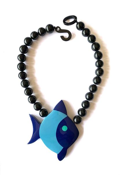 Marion Godart Blue Fish Pendant Necklace