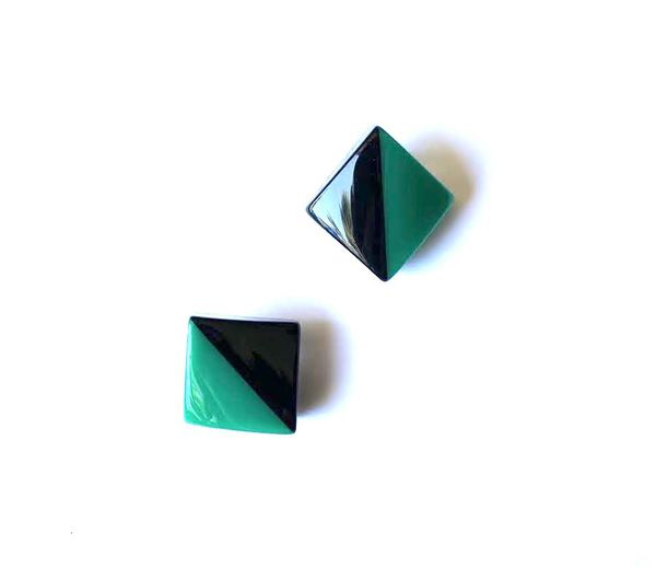 Marion Godart Black & Turquoise Art Deco Earrings