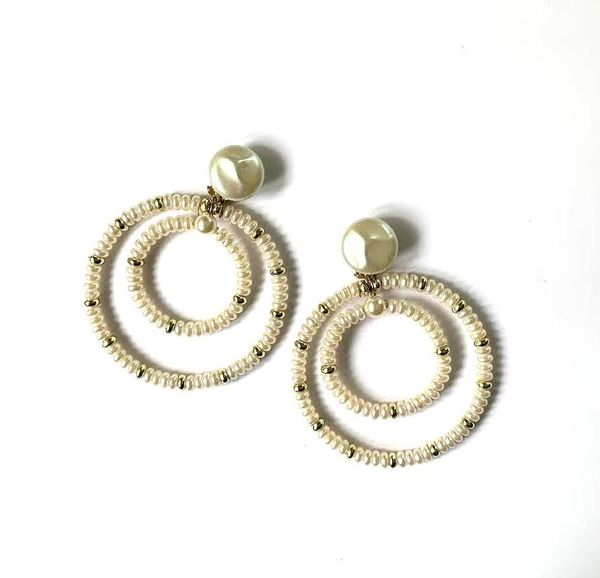 Marion Godart Huge Double Pearl Hoop Earrings