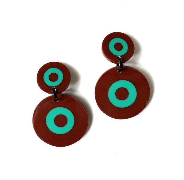 Marion Godart Brown & Truquoise Dartboard Earrings