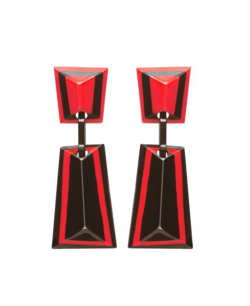 Marion Godart Red and Black Art Deco Earrings