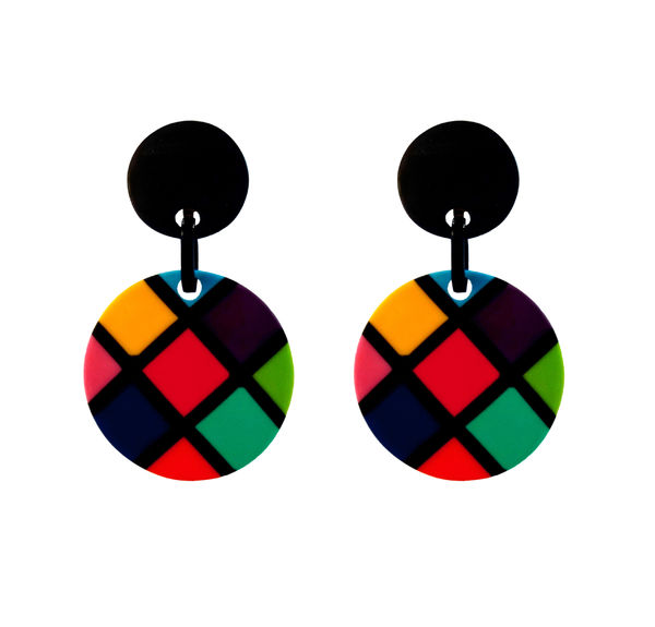 Marion Godart Multicolored Checked Earrings