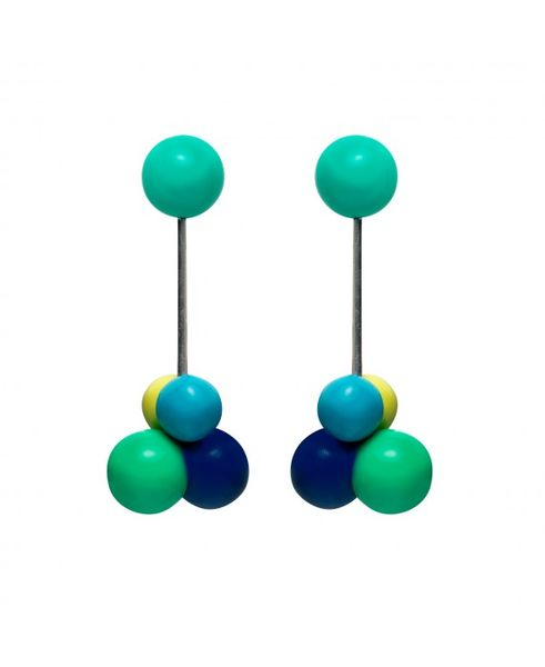 Marion Godart Atom Earrings in Turquoise, Blue & Green