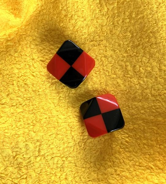 Marion Godart Red & Black Check Earrings
