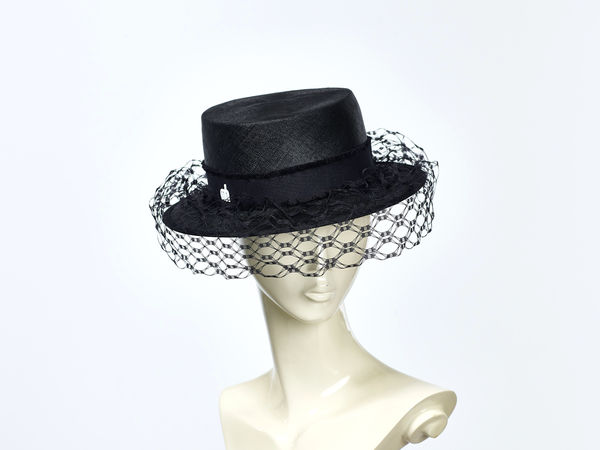 Misa Harada Black Boater Hat with Veil