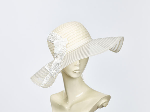 Mis Harada White Wide Brimmed Hat