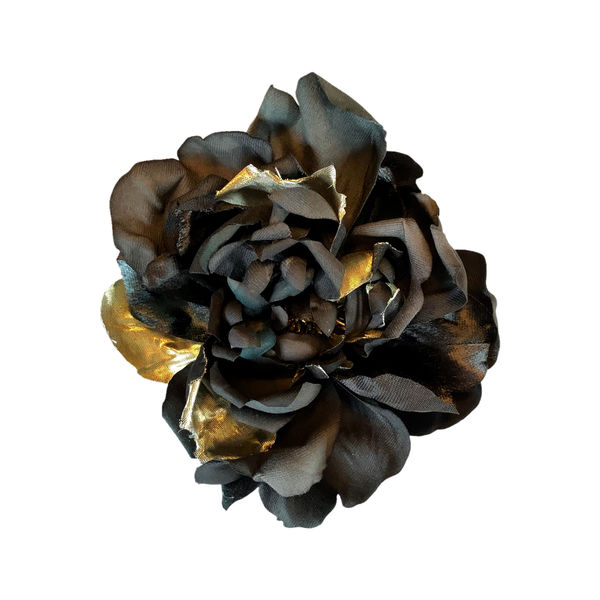 Beautiful Oversize Black Flower Brooch / Hair Pin