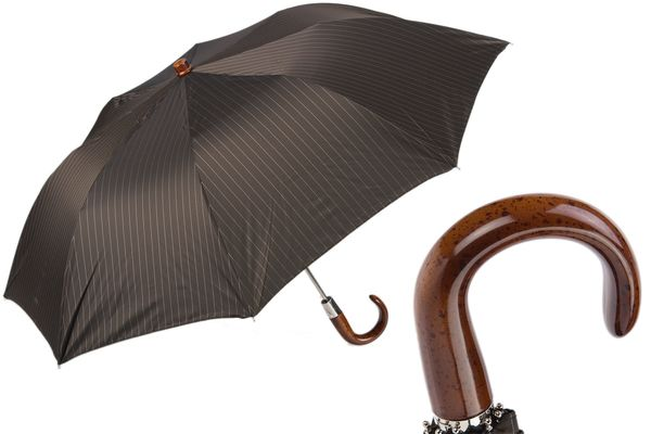 Pasotti Striped Brown Folding Umbrella