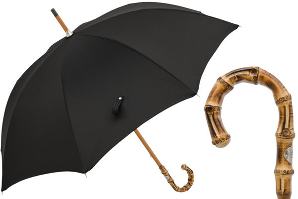 Pasotti Black Umbrella with Bamboo Handle