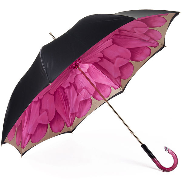 Pasotti Black Umbrella with Fuchsia Dahlia Interior