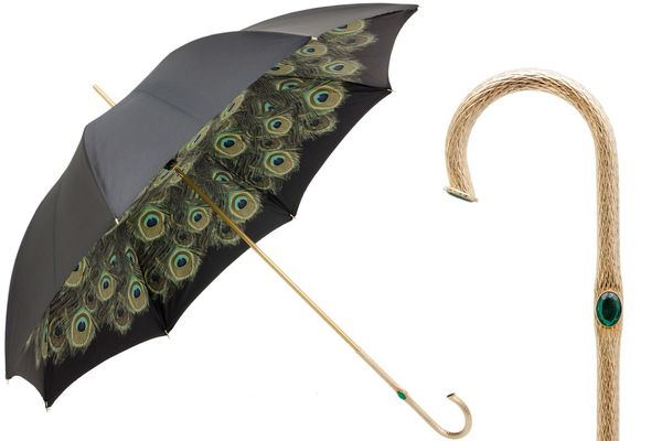 Pasotti Black Umbrella with Peacock Interior