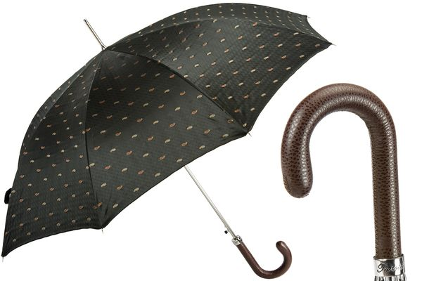 Pasotti Gentleman's Paisley Umbrella with Leather Handle