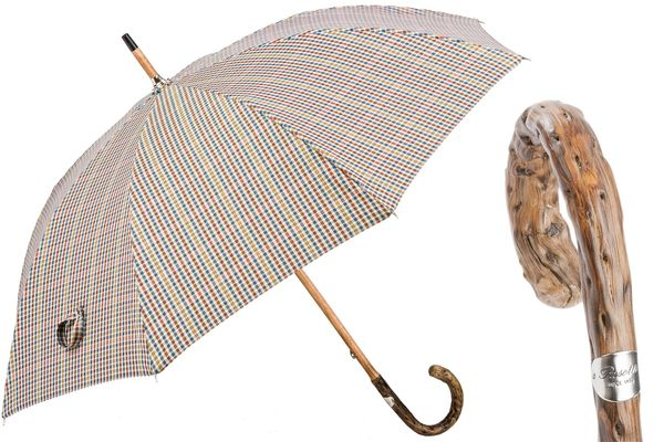Pasotti Tartan Umbrella with Wooden Handle
