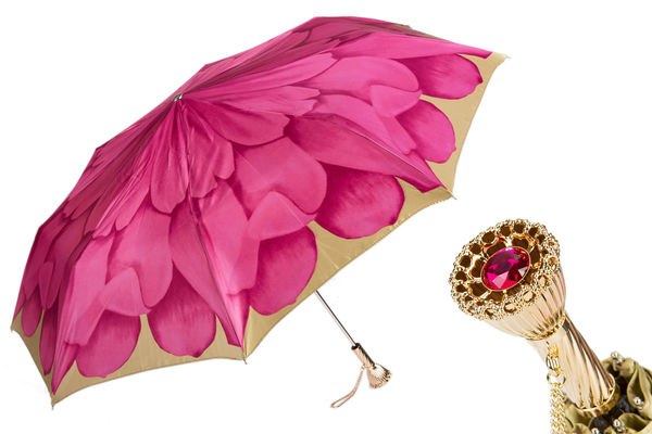 Pasotti Pink Dahlia Folding Umbrella