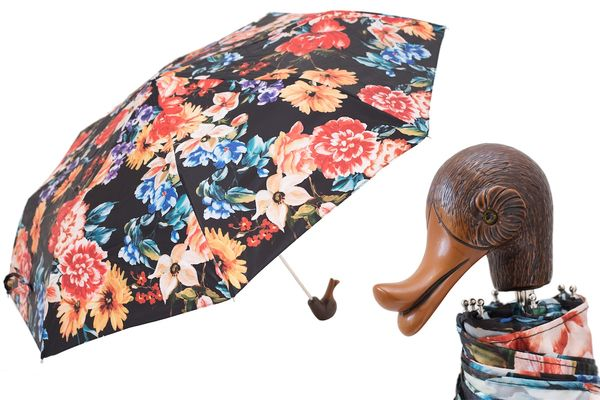 Pasotti Flowered Folding Umbrella with Duck Handle