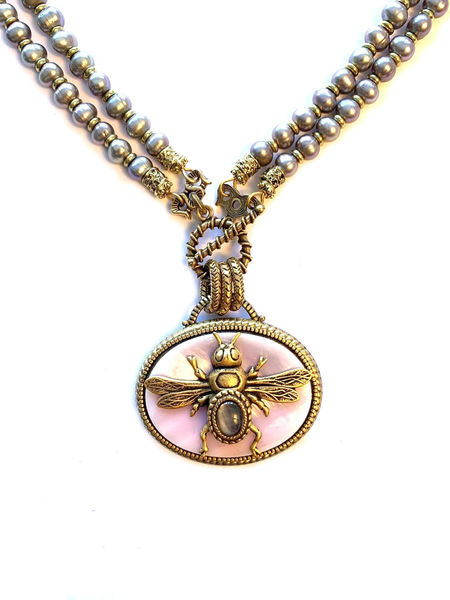Patrice Pink Bee Necklace in Oval Shape