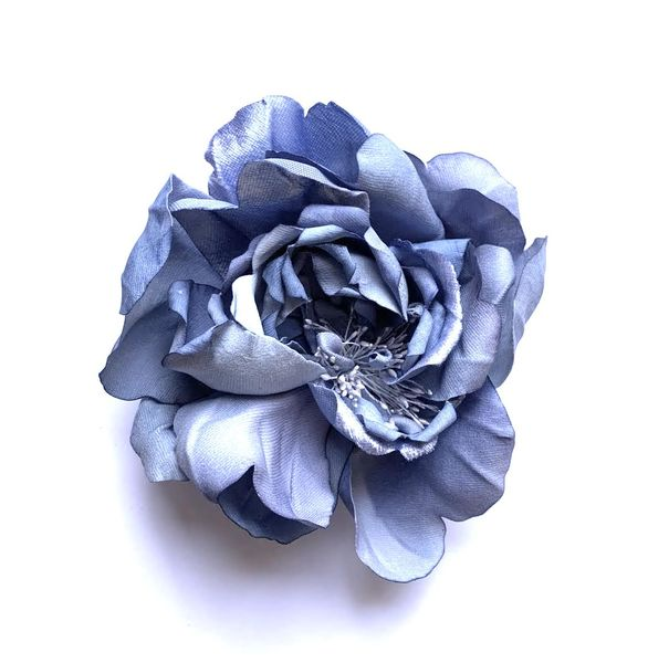 Oversize Pastel Blue Flower Brooch / Hair Pin